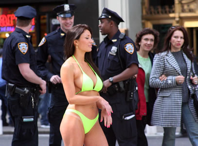 Cops and Bikini Model